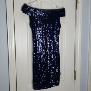 Asos Navy Sequin Dress - Off the shoulder